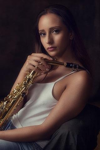 iPhone Wallpaper Girl, saxophone, music theme