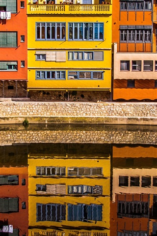 iPhone Wallpaper Girona, Spain, houses, river, water reflection