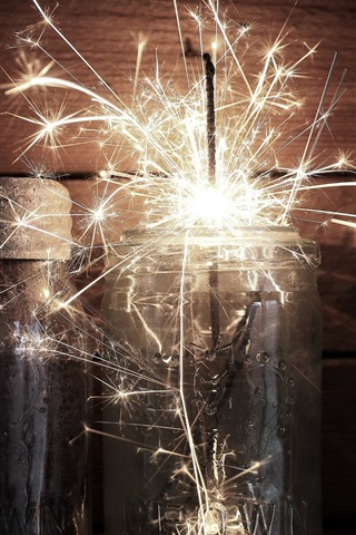 iPhone Wallpaper Glass cup, sparks, holiday