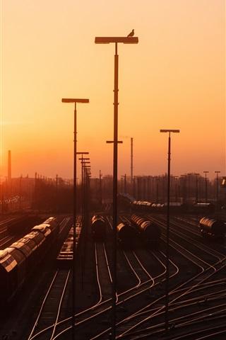 iPhone Wallpaper Hamburg, rail station, railroad, sunset, Germany