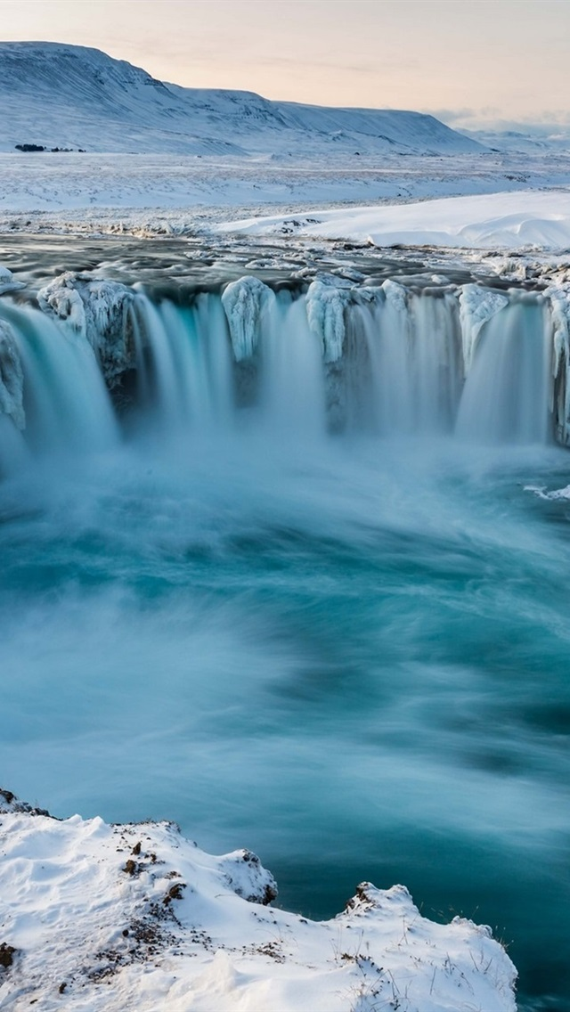 wallpaper iceland godafoss waterfall snow winter cold