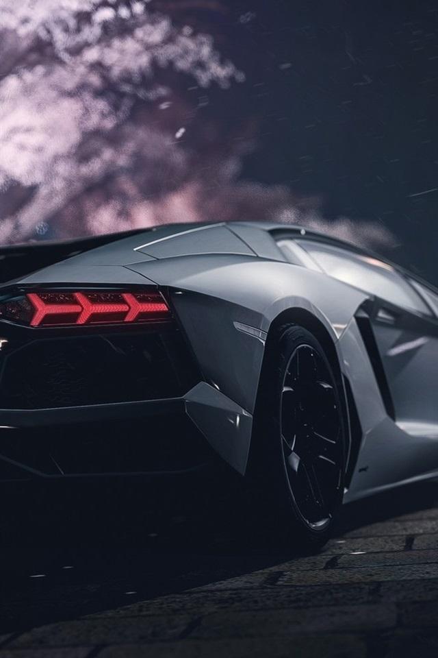 Wallpaper Lamborghini Supercar Rear View Night 1920x1080 Full Hd 2k
