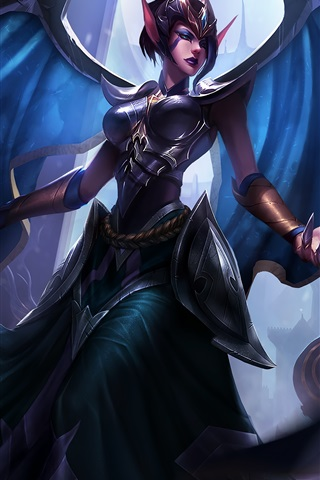 iPhone Papéis de Parede League of Legends, garota de fantasia, asas, elf, hall