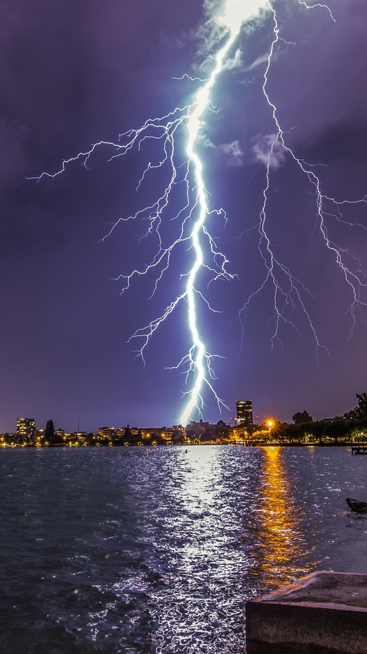 Lightning Storm City Lake Lights Night Pier 750x1334 Iphone 8