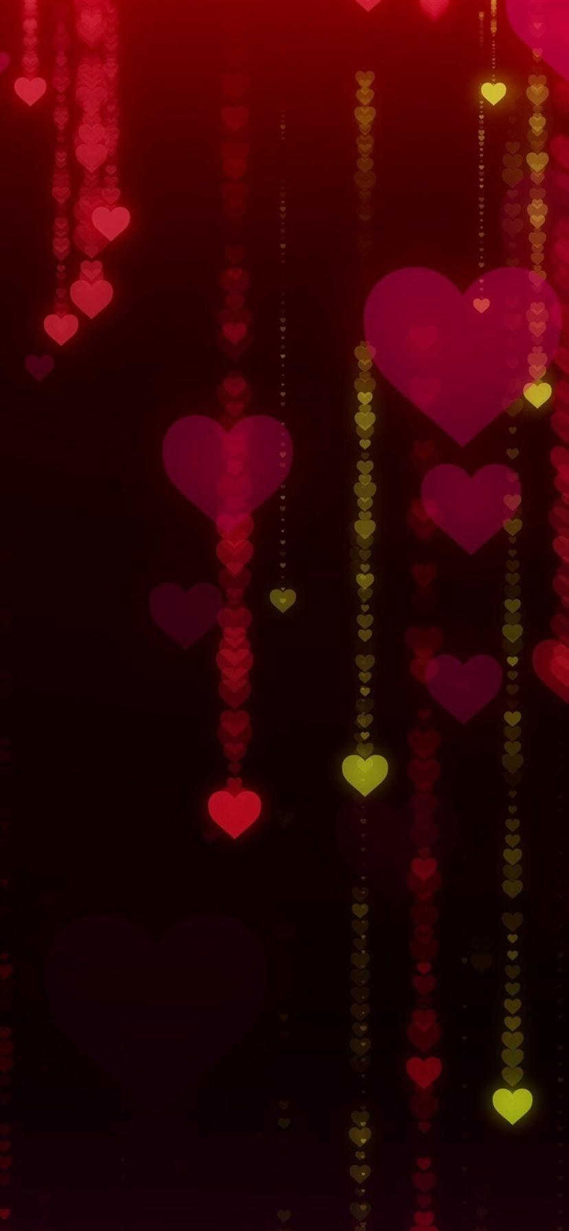 Love Hearts Glare Black Background 1080x1920 Iphone 8 7 6