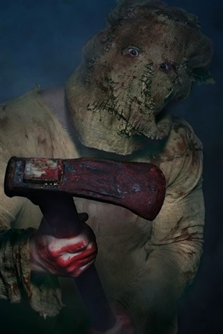 iPhone Wallpaper Maniac, mask, axe, blood