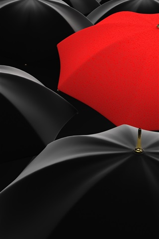 iPhone Wallpaper Many black umbrellas, one red