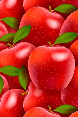 iPhone Wallpaper Many red apples, creative design
