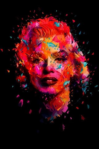 iPhone Wallpaper Marilyn Monroe, art picture, black background