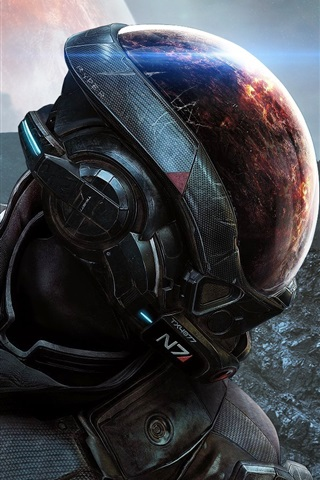 iPhone Wallpaper Mass Effect, EA games, space, planet