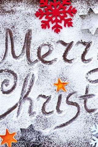 iPhone Papéis de Parede Feliz Natal, flocos de neve, veados, bagas