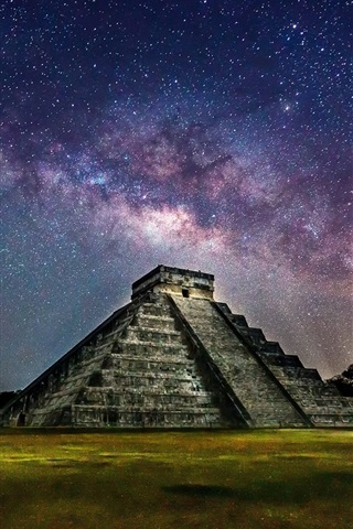 iPhone Wallpaper Mexico, Pyramid, night, starry