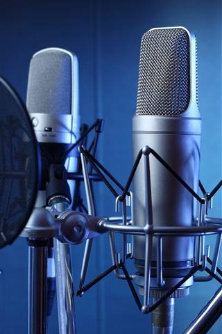 iPhone Wallpaper Microphones, studio