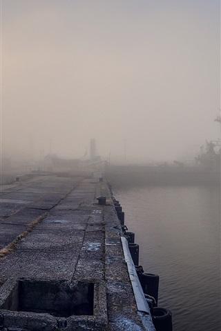 iPhone Wallpaper Morning, dock, river, ship, fog