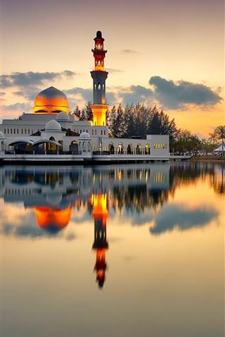 iPhone Wallpaper Mosque, minaret, lake, evening, sunset