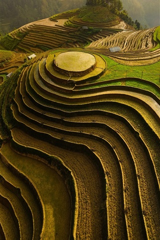 iPhone Wallpaper Mountain, terraces, slope