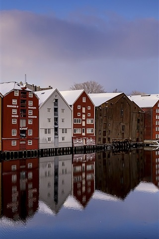 iPhone Wallpaper Norway, Trondheim, river, snow, winter, houses, colorful