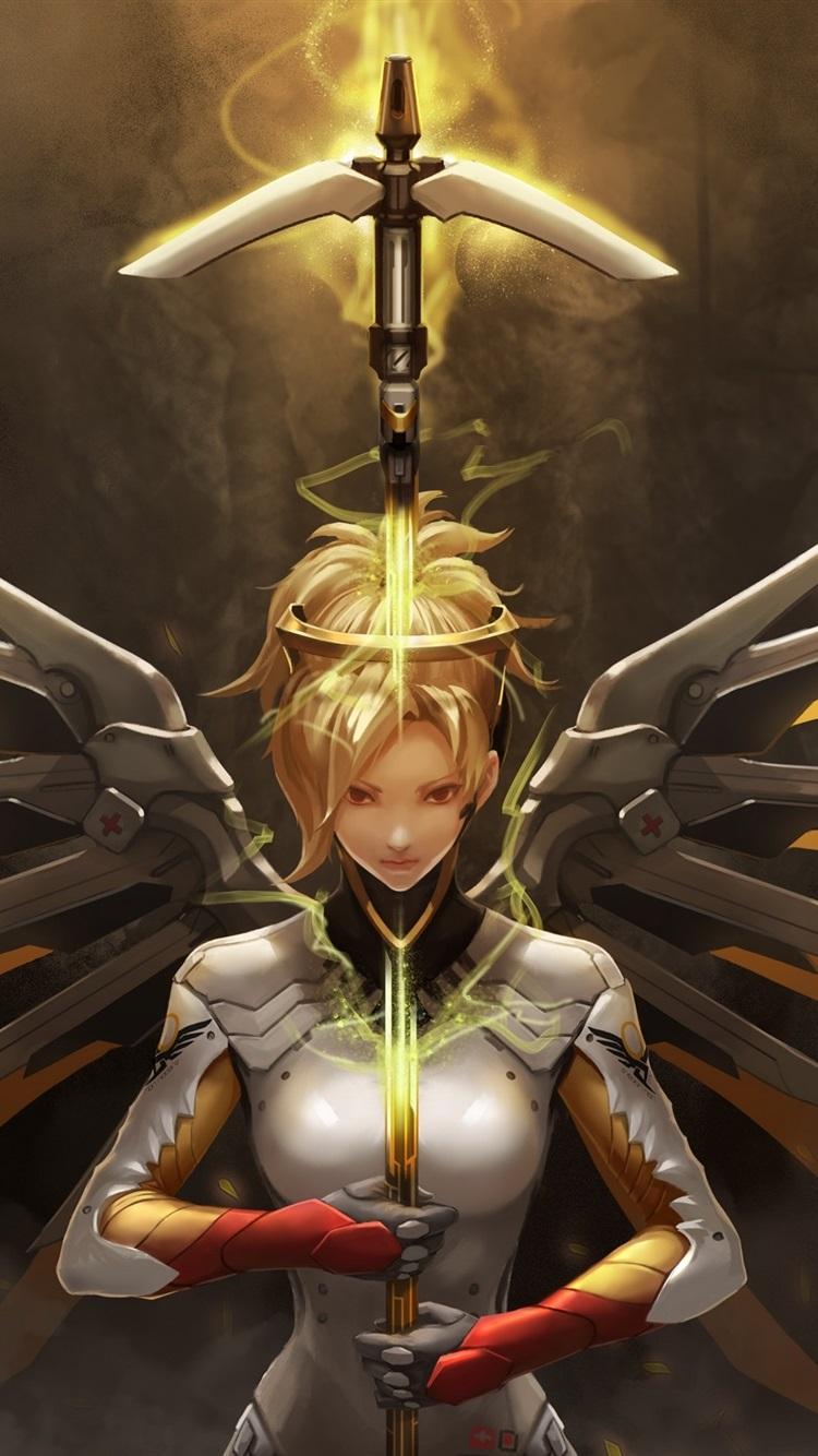 Wallpaper Overwatch Mercy Girl Wings Sword 2880x1800 Hd