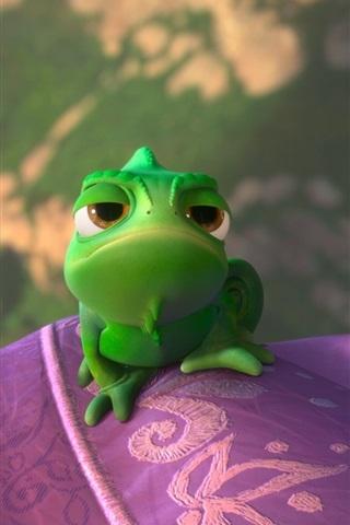 iPhone Wallpaper Rapunzel, Pascal, green chameleon