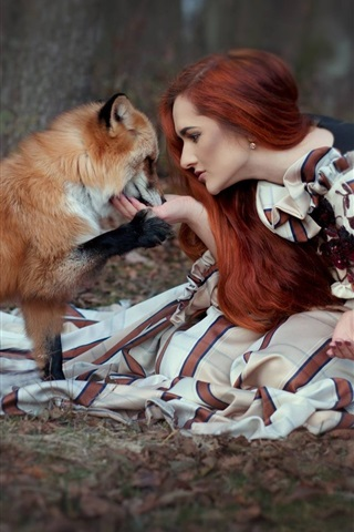 iPhone Wallpaper Red hair girl and fox sit on ground