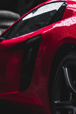 iPhone Wallpaper Red supercar rear view, water drops, after rain