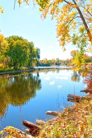 iPhone Wallpaper Riverside walk, river, trees, autumn