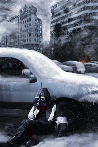iPhone Wallpaper Romantically Apocalyptic, ruins, city, snow, gas mask, cars, smoke, fire