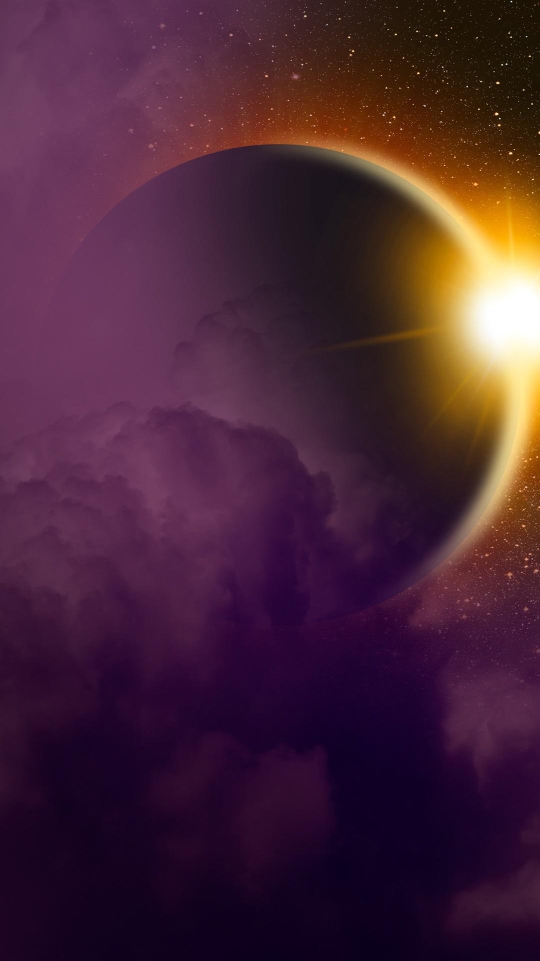 Solar Eclipse Planet Light Space 1080x1920 Iphone 8 7 6 6s Plus