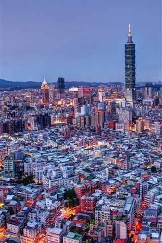 iPhone Wallpaper Taiwan, Taipei, mountains, city, night, lights