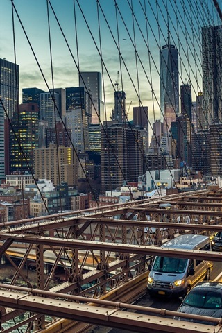 iPhone Wallpaper USA, Brooklyn Bridge, Manhattan, cars, city