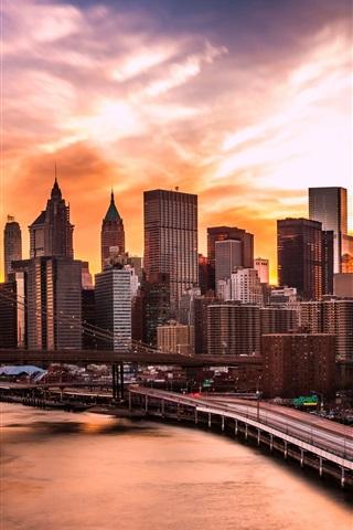 iPhone Wallpaper USA, Manhattan, New York, Brooklyn Bridge, East River, skyscrapers, clouds