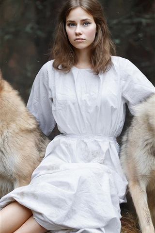 iPhone Wallpaper White skirt girl and two dogs