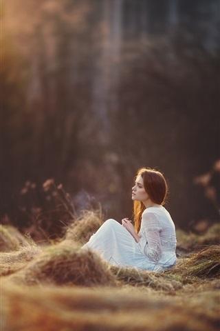 iPhone Wallpaper White skirt girl sit on grass, forest