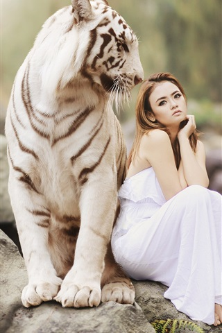 iPhone Wallpaper White tiger and Asian girl, sitting on stone, friendship
