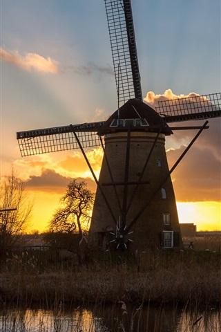 iPhone Wallpaper Windmill, river, grass, sunset