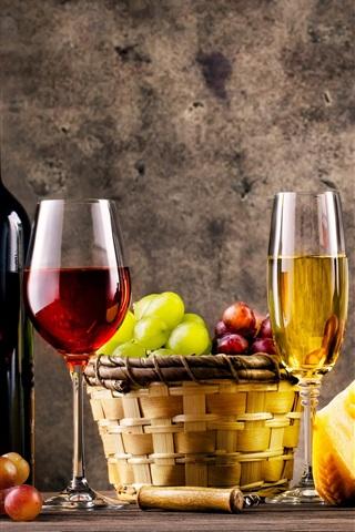 iPhone Wallpaper Wine, glass bottles, grapes, barrel