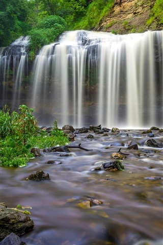 iPhone Wallpaper Wisconsin, waterfall, creek, stones, USA