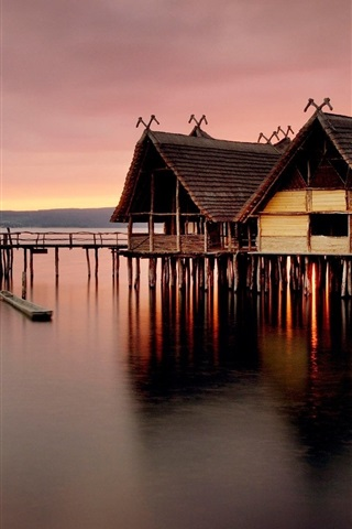 iPhone Wallpaper Wooden house, pier, sea, dusk