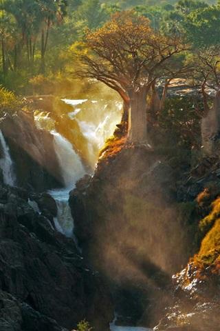 iPhone Wallpaper Africa, Kunene River, Epupa Falls, trees, nature