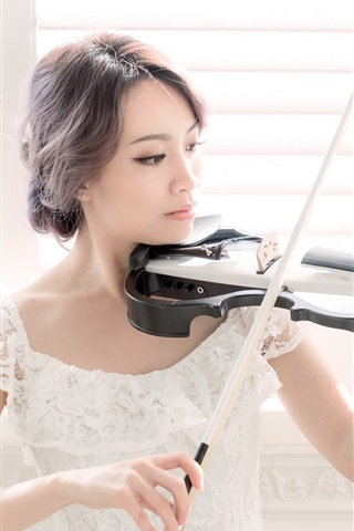 iPhone Wallpaper Asian girl play violin, window side, white skirt