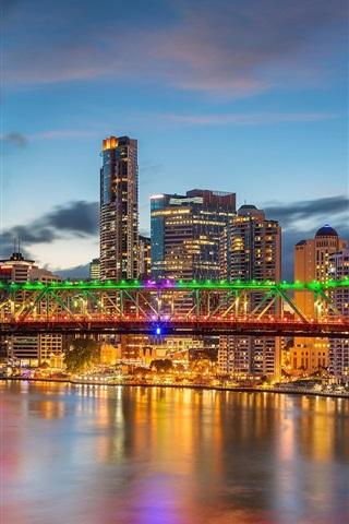 iPhone Wallpaper Australia, QLD, Brisbane River, skyscrapers, Story Bridge, lights
