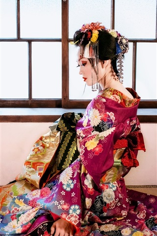 iPhone Wallpaper Beautiful Japanese girl, back view, kimono, window, room