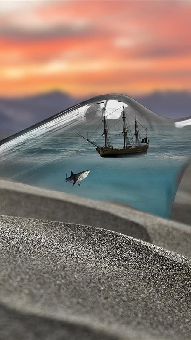 Wallpaper Bottle Shark Ship Beach Creative Picture