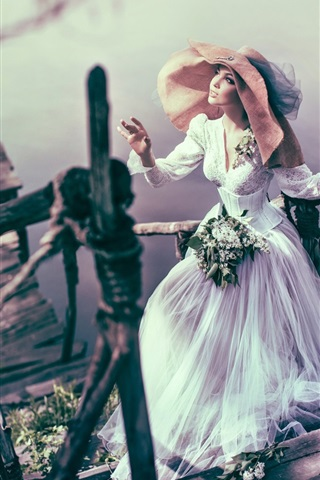 iPhone Wallpaper Bride, girl, hat, ladder, lake