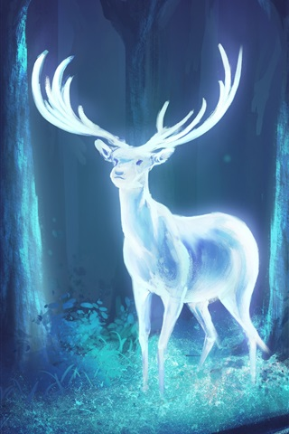 iPhone Wallpaper Bright deer in the forest, art drawing