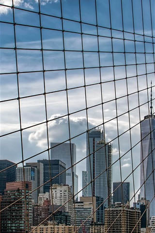 iPhone Wallpaper Brooklyn Bridge, New York, USA, skyscrapers