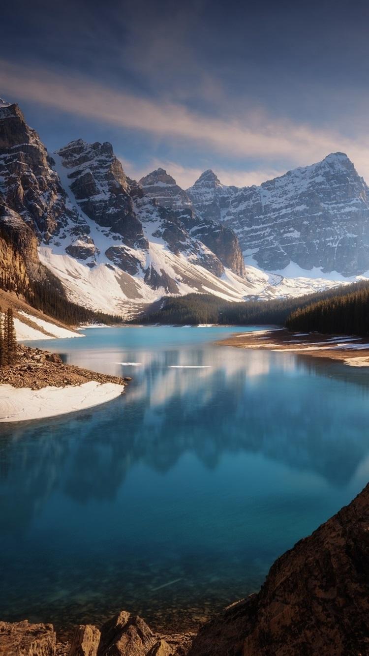 Fonds D Ecran Canada Montagnes Neige Foret Lac Paysage