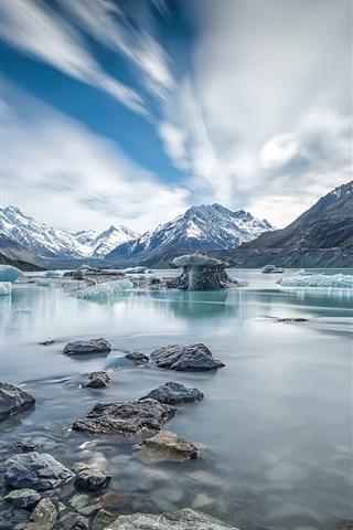 iPhone Wallpaper Canterbury, New Zealand, Mount Cook, river, ice, winter