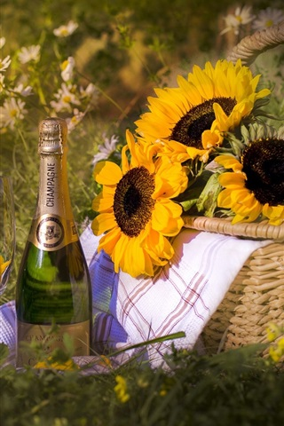 iPhone Wallpaper Champagne, sunflowers, basket, grass, summer