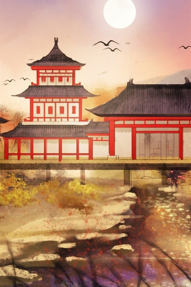 Chinese Retro Style Park Art Drawing 640x960 Iphone 44s